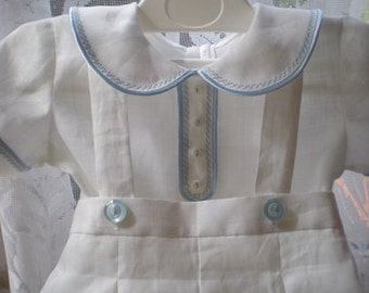 Boy outfit – White or ivory linen shorts with straps and shirt. Christening outfit. Baby boy dungarees and shoes.
