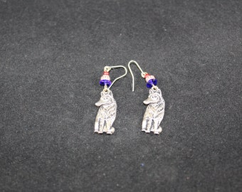 Sterling Silver wolf earrings with hooks