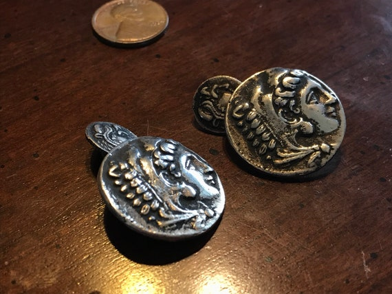 Hercules Nemean Lion Silver Greek Coin Cufflinks -