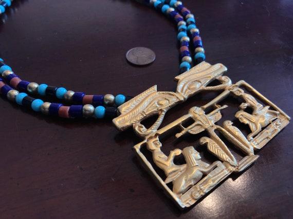 Egyptian Revival Eye of Horus Pendant Charm Stackable Beaded Tiger Eye Bracelet