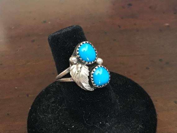 Handmade Sterling Silver Sleeping Beauty Natural Turquoise sz 5.75 6 Southwestern Ring Vintage OOAK