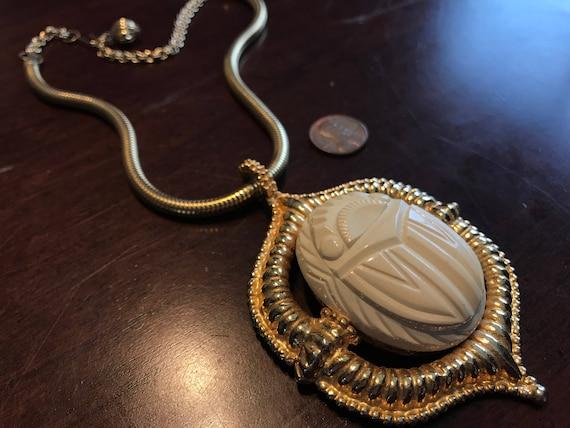 Vintage Runway Statement KJL Celluloid Kenneth Lane Egyptian Revival Gold and French Ivory Scarab Dangle Enhancer Pendant Necklace