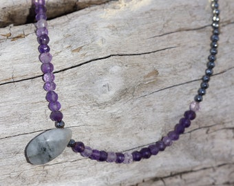 amethyst gemstone choker style necklace