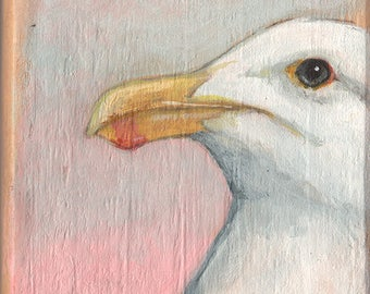 Seagull Original Acrylic Painting on Wood by Kat McD.
