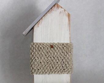 Wood Beach House with Khaki Knit Stripe
