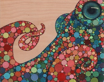 Octopus By the Sea  #3  Original Acrylic Painting on Wood by Kat McD.