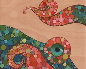 Octopus By the Sea  #2 Original Acrylic Painting on Wood by Kat McD.