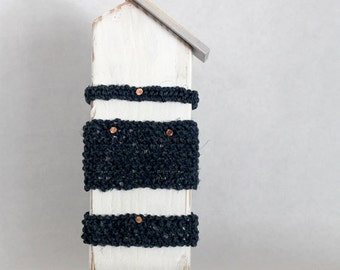White Wood Beach Cottage with Hemp Knit Stripe in Navy and Copy Nail detail.