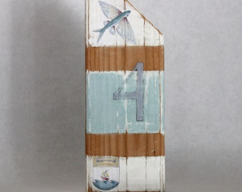 Wood Flying Fish Beach Cottage with Blue and White Stripe ~ Buoy inspired #107