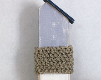 Wood Beach Cottage with Twine Knit Stripe ~ Grey and White