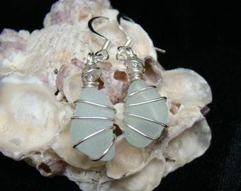 Sea Foam Green Sea Glass Earrings