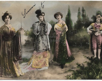1919 Vintage FRENCH Real Photo Postcard Lovely Fashion Sweet BOY and GIRL holding hands