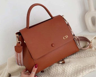 Personalised Vegan Leather Bag / Brown Handbag /  Brown Bag /  Vegan Leather Bag / Vegan Leather Handbag / Leather Messenger