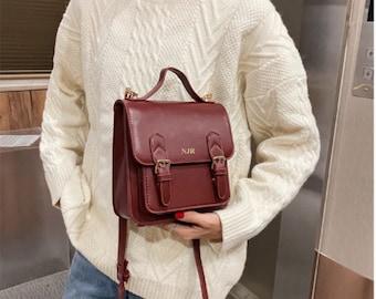 Personalised Vegan Leather Satchel / Cognac Satchel / Brown Satchel Bag /  Vegan Leather Bag / Vegan Leather Handbag/Vegan Leather Messenger