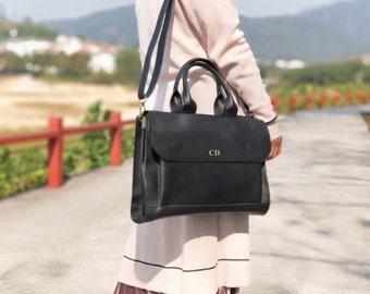 Personalised Vegan Leather Laptop Bag / Black Briefcase /  Black Laptop Bag /  Vegan Leather Bag / Vegan Leather Handbag / Leather Messenger