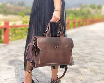 Personalised Vegan Leather Laptop Bag / Brown Briefcase /  Brown Laptop Bag /  Vegan Leather Bag / Vegan Leather Handbag / Leather Messenger