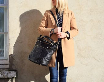 Black Leather Purse / Black Leather Handbag / Black Leather Bag / Leather Messenger / Leather Bag / Black Leather Purse / Black Messenger