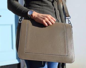 SALE Grey Leather Bag / Leather Handbag / Leather Messenger / Leather Shoulder Bag / Gray Leather Bag / Leather Purse / Gray Handbag