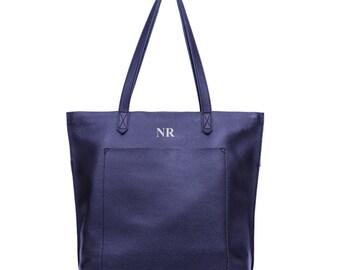 Personalised Leather Bag Navy, Monogrammed Leather Handbag, Navy Leather Bag, Navy Leather Purse, Navy Leather Tote, Navy Shoulder Bag