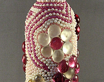 Pink and White Mosaic Wine Bottle