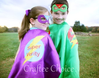 Personalized Superhero Cape and mask set/ 12 colors / childrens cape/ costume/party favor/kids