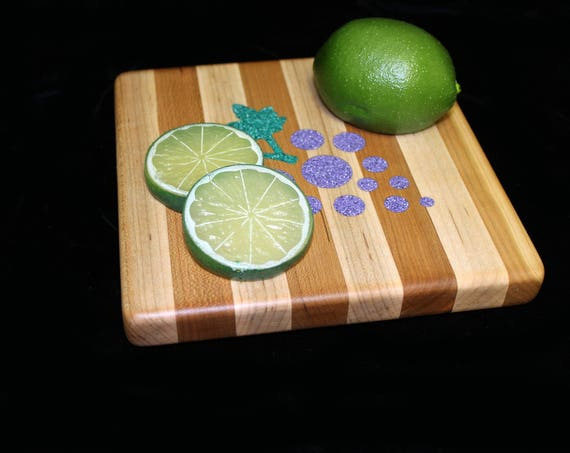 Custom Handmade Square Ctting Board Inlayed with Grapes.