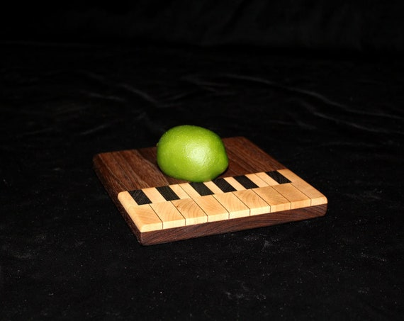 Custom Handmade Square Cutting board Inlayed to resemble a Piano
