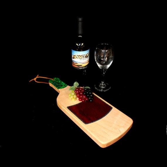 Custom HandmadeUnique Wooden Inlayed Wine Bottle Cutting Board 6