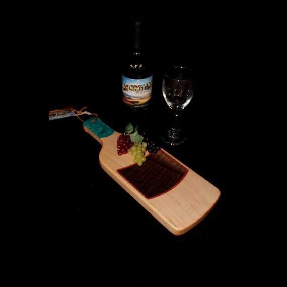 Custom Unique Handmade Wooden Inlayed Wine Bottle Cheese Cutting Board 25