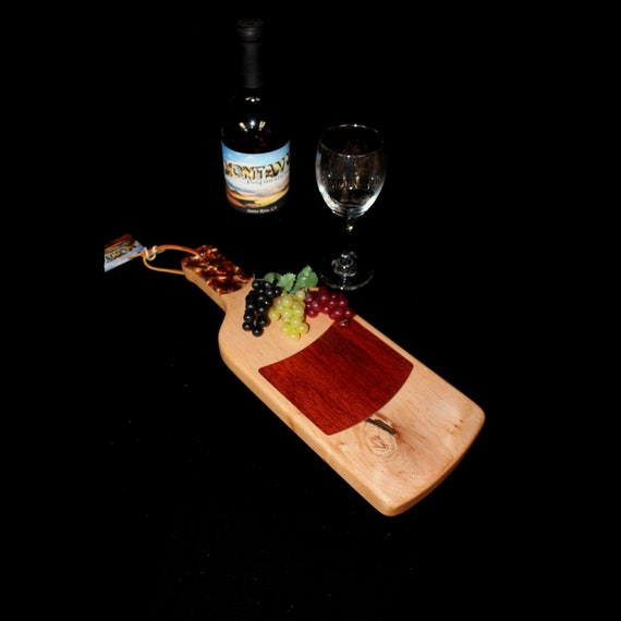 Custom Unique Handmade Wooden Inlayed Wine Bottle Cheese Cutting Board 16