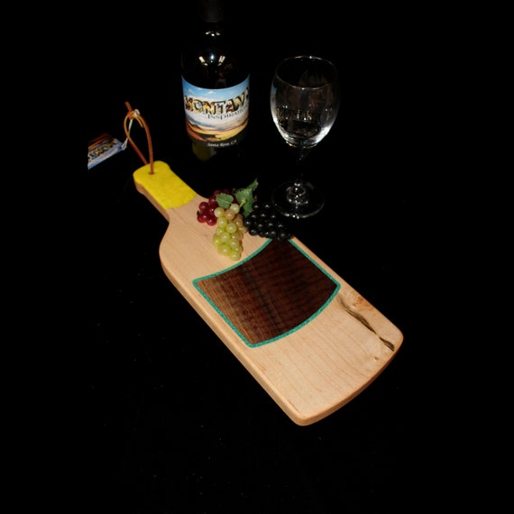 Custom Unique Handmade Wooden Inlayed Wine Bottle Cheese Cutting Board 20