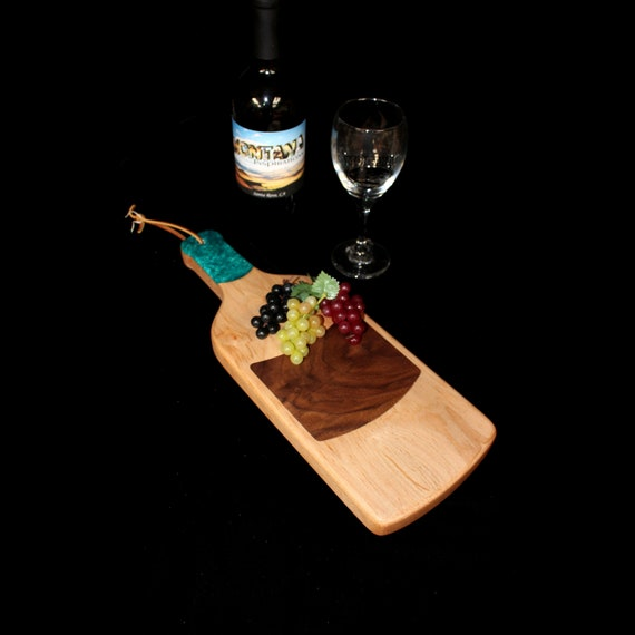 Custom Fun Style Handmade Unique Wooden Inlayed Wine Bottle Cutting Board 3