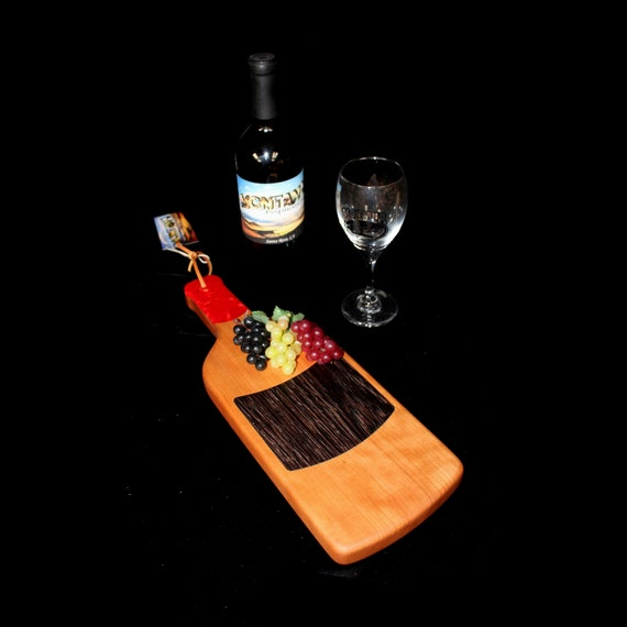 Custom HandmadeUnique Wooden Inlayed Wine Bottle Cutting Board 4
