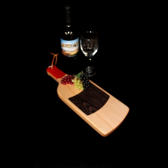 Custom Unique Handmade Wooden Inlayed Wine Bottle Cheese Cutting Board 15