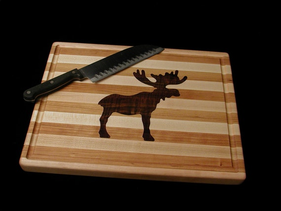 Custom Handmade Unique Inlayed Rectangle Cutting Board. Moose