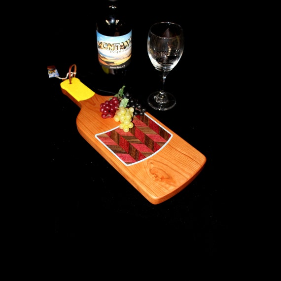 Custom Fun Style Handmade Unique Wooden Inlayed Wine Bottle Cutting Board 11