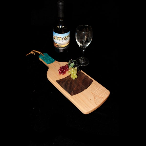 Custom Unique Handmade Wooden Inlayed Wine Bottle Cheese Cutting Board 14