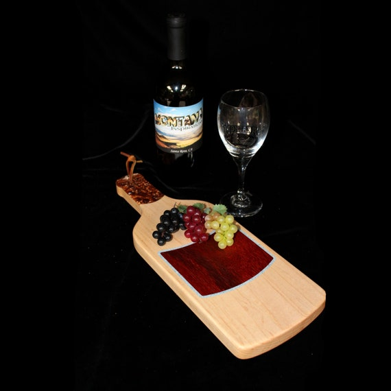 Custom Fun Style Handmade Unique Wooden Inlayed Wine Bottle Cutting Board 10