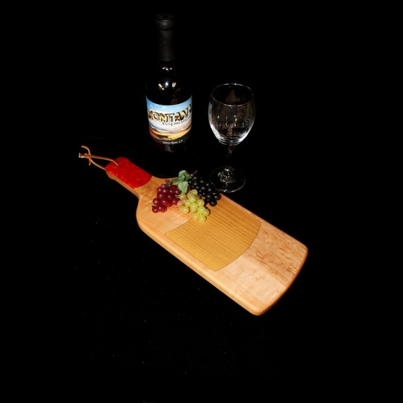 Custom Unique Handmade Wooden Inlayed Wine Bottle Cheese Cutting Board 18