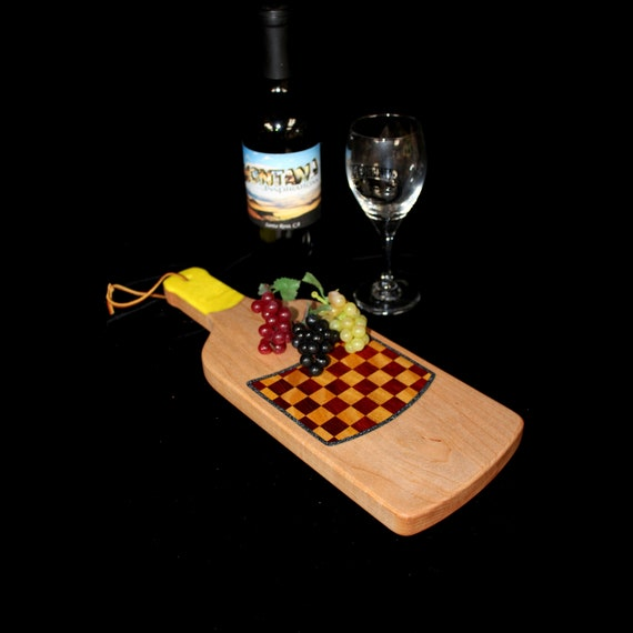 Custom HandmadeUnique Wooden Inlayed Wine Bottle Cheese Cutting Board 7