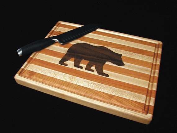Custom Handmade Rectangle Cutting Board with Inlayed Grizzly Bear