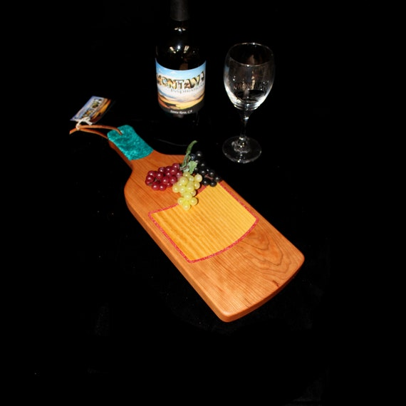 Custom Unique Handmade Wooden Inlayed Wine Bottle Cheese Cutting Board 19