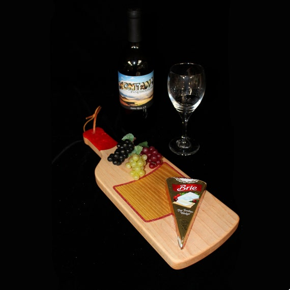 Custom Fun Style Handmade Unique Wooden Inlayed Wine Bottle Cutting Board 9