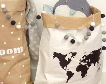 World map bag etsy paper bag world map nursery paper bags storage paper bags mapa mundi decoration gumiabroncs Images