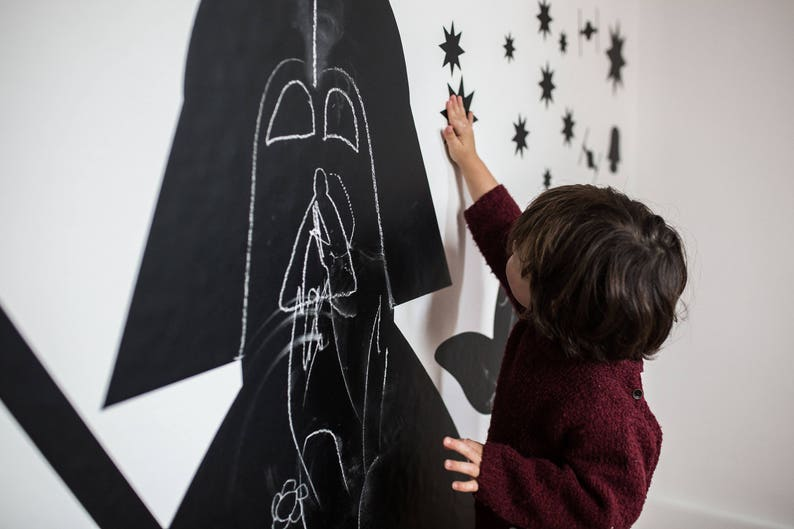 Blackboard for Drawings /& Children Scribbles Darth Vader walldecals Chalkboard nursery Darth Vader Chalkboard Star Wars Vinyl Decal