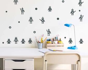 Children's Robot Vinyls. Wall vinyls robots. Wall Stickers Decorative Robots. Decorative Vinyls robots for children's rooms.