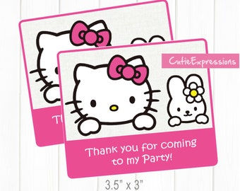 e9c7052d7 Hello Kitty Goody Bag Labels in Pink - Birthday Party Decorations -  Printable Labels - Hello Kitty Party theme - Hello Kitty Girls Birthday