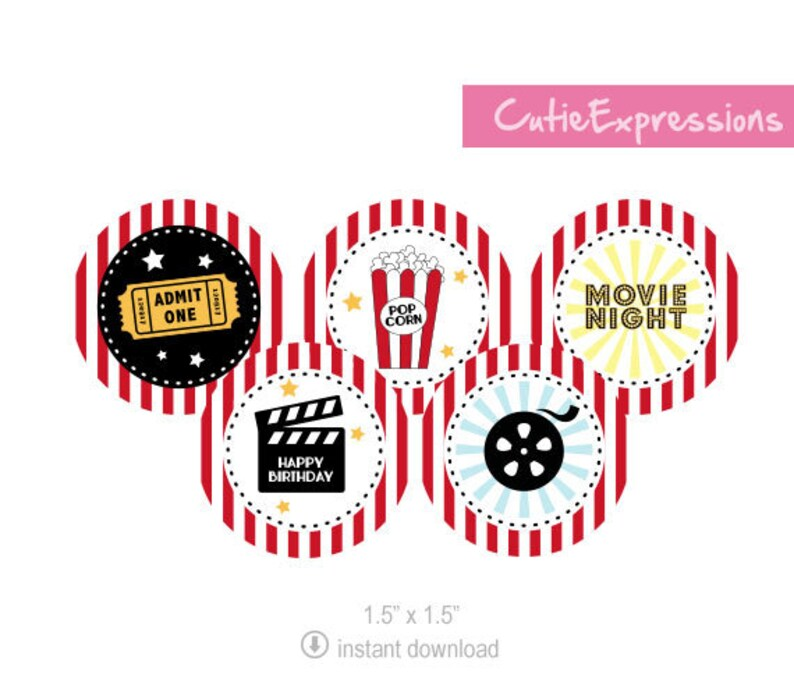 Movie Night Party, Printable Cupcake Toppers, Movie Theme Birthday Party,  Popcorn Printable, Movie Decorations