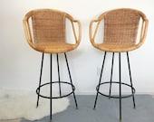Vintage Swivel Bar Counter Stools Pair Rattan Wicker Metal Iron Mid-Century Modern Chairs Umanoff Eames Era Bent Wood California Boho