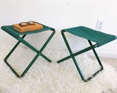 Pair of Little Vintage Folding Camping Stools - Dark Green - Metal Canvas - Mid Century Modern - Rustic - Industrial - Loft Decor Accent
